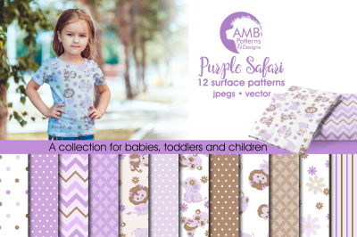 Purple Safari patterns, Purple Safari papers AMB-1210