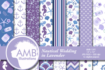 Nautical Wedding patterns, Purple Nautical papers AMB-1391