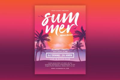 Summer Beach Sunset Flyer