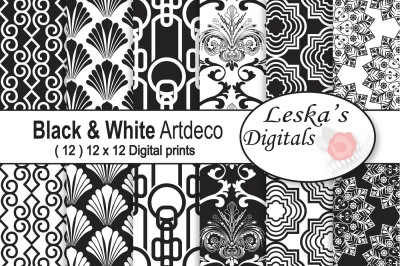 Black and White Art Deco Digital Paper
