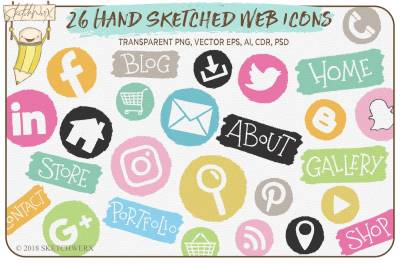 26 Hand Sketched Web Icons