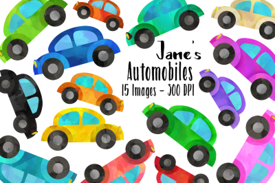 Watercolor Cars Clipart