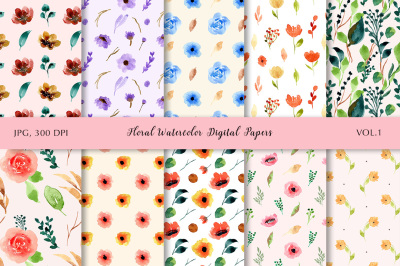 Floral Watercolor Digital Papers Vol.1