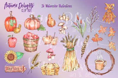 Autumn Delights Clip Art -Watercolor Illustrations