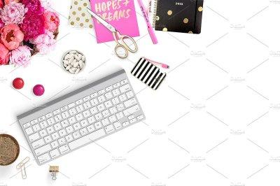 Feminine Desktop Styled Stock Photo