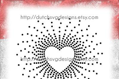 SS20 Hotfix rhinestone heart pattern, rhinestone template, heart svg