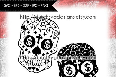 2 Sugar skull cutting files, sugar skull svg, cricut svg