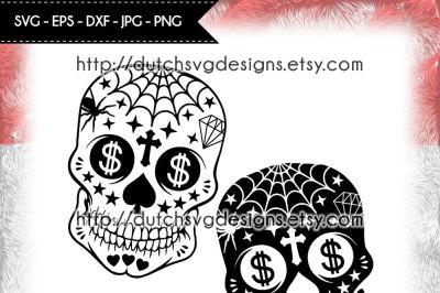 2 Sugar skull cutting files, sugar skull svg, cricut svg