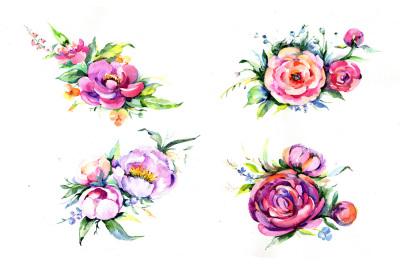 Elegant bouquet pink flower PNG watercolor set