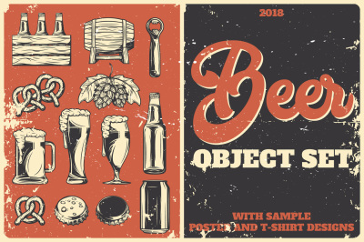 Beer Object Set. Posters & T-shirts