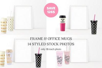 14 Styled Frame Mockup & Coffee Mugs
