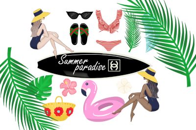 Summer paradise fashion clipart