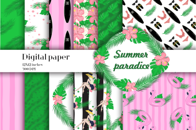 Summer paradse digital paper