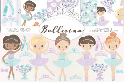 Ballerina Clipart and Digital Papers Pack
