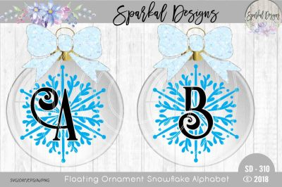 Snowflake Monograms for Floating Ornaments - Cut Files