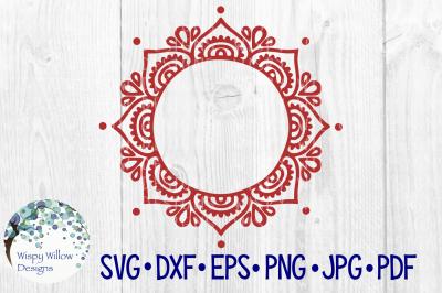 Mandala Name Monogram Border Frame
