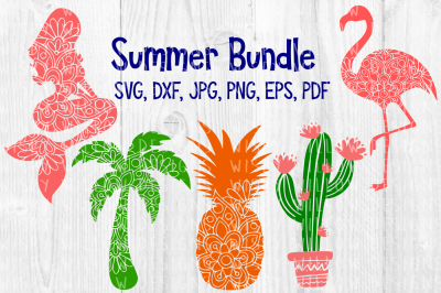Summer Mandala Bundle, Mermaid, Palm Tree, Pineapple, Flamingo, Cactus