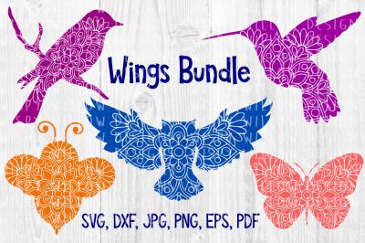 Wings Animal Mandala Bundle, Bird, Bee, Owl, Butterfly Cut File