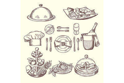 Different pictures for restaurant menu in retro style