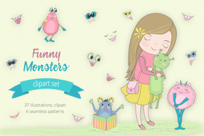 Funny Monsters Illustration Set