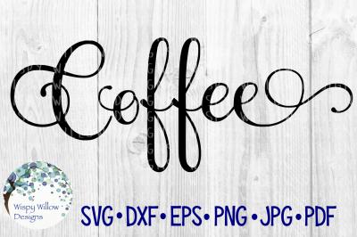 Coffee Elegant Scroll Label SVG/DXF/EPS/PNG/JPG/PDF
