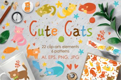 Cute cats set clip-art. Patterns