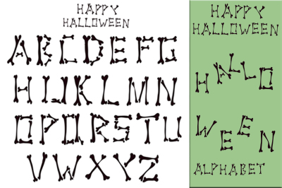 Hand drawn bone's Halloween alphabet