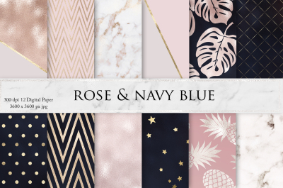Rose Gold Marble Navy Blue Textures