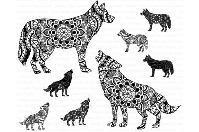 Mandala Wolf, Howling Wolf Mandala SVG files.
