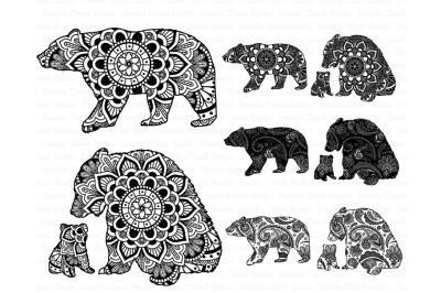 Bear Mandala SVG, Mama and Baby Bear SVG.