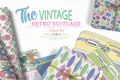 The Vintage Retro Hand-drawn Suitcase Clipart Collection