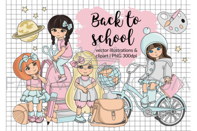 BACK TO SCHOOL Cartoon Vector Illustration Set for Print