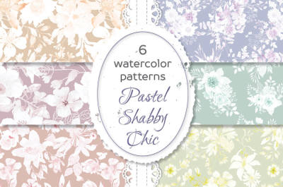 Pastel shabby chic watercolor patterns