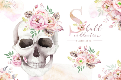 Day of The Dead. Watercolor set.