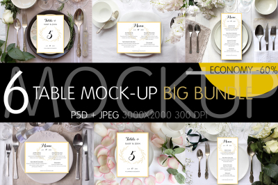 Table Settings Mock-up Bundle. PSD + JPG