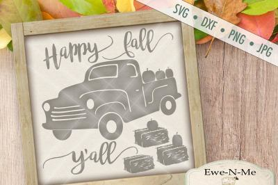 Happy Fall Y'all Truck with Pumpkins SVG