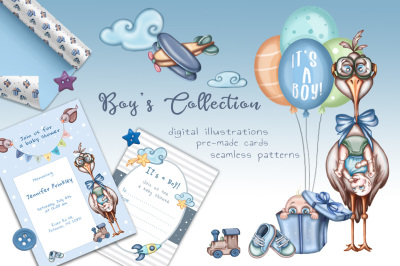 Boy's Collection baby shower kit