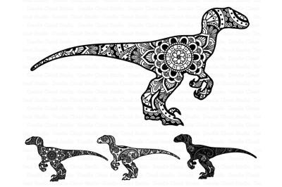 Mandala Dinosaur SVG, Raptor Mandala svg,