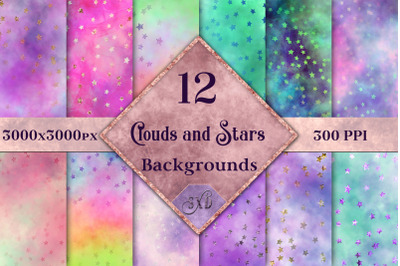 Clouds and Stars Backgrounds - 12 Image Set