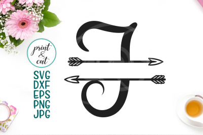 monogram letter I svg file, split font with arrows, individual letter