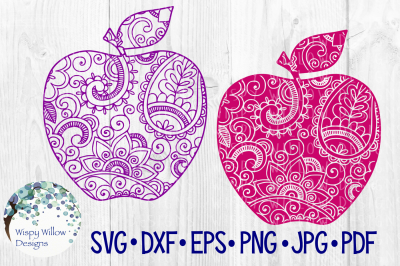 Apple Bundle, Zentangle, Teacher Gift, School, SVG/DXF/EPS/PNG/JPG/PDF