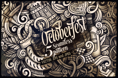 5 Beer Graphic Doodles Patterns