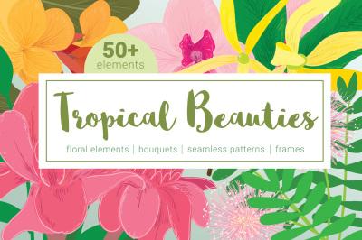 Tropical Beauties Vector Floral Set
