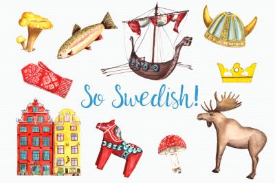 So Swedish - Watercolor Clip Art Set