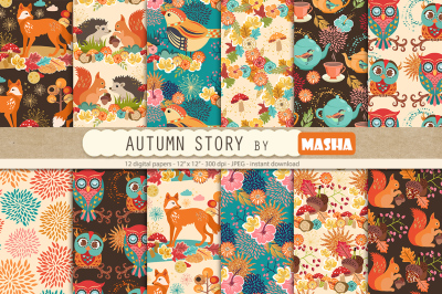 AUTUMN STORY digital papers