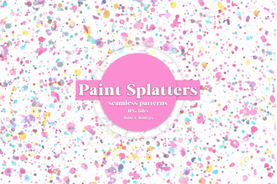 WATERCOLOR PAINT SPLATTERS seamless patterns