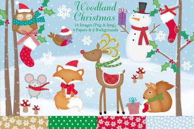 Christmas clipart, Woodland Christmas graphics & illustrations