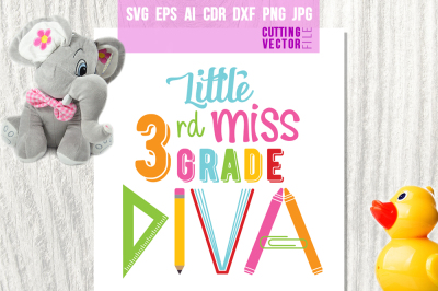 Little Miss 3rd Grade Diva - svg, eps, ai, dxf, png, jpg