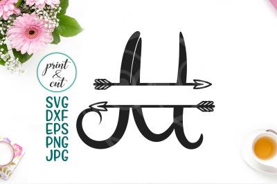 monogram letter M svg file, split font with arrows, individual letter