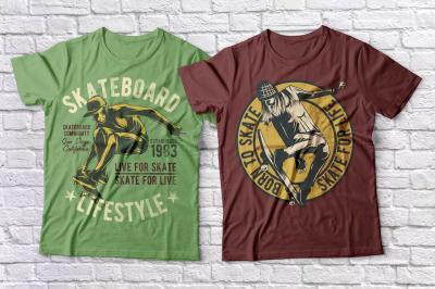 Skateboard t-shirts set